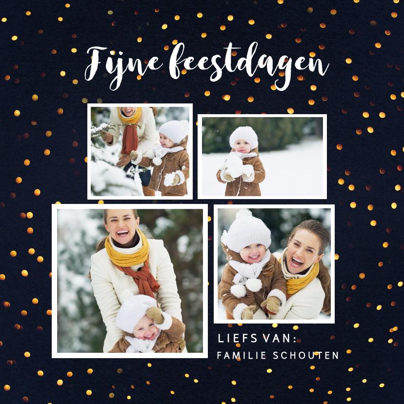 Kerstkaarten - Kerstkaart gouden stippen met  4 foto's