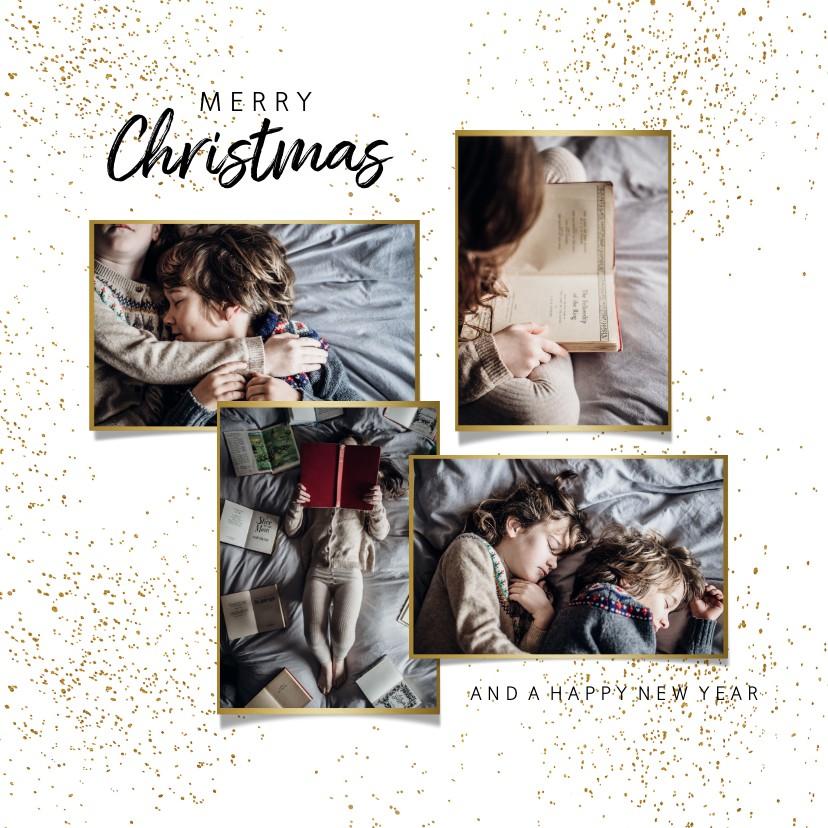 Kerstkaarten - Kerstkaart goudlook foto collage