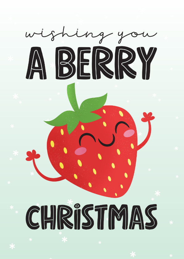 Kerstkaarten - Kerstkaart grappig kawaii strawberry berry christmas aardbei