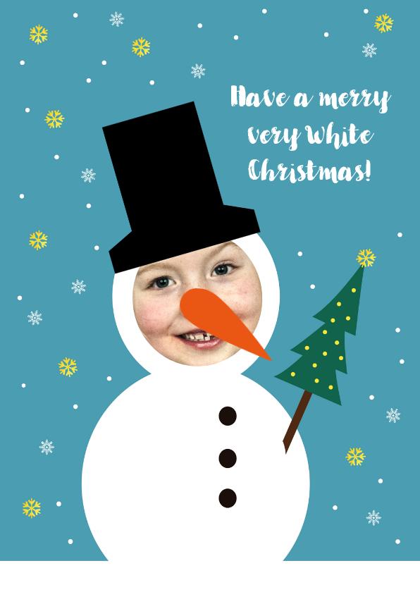 Kerstkaarten - Kerstkaart grappig sneeuwpop met foto