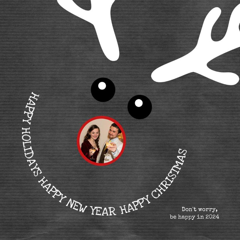 Kerstkaarten - Kerstkaart grappige met illustratie rendier Happy