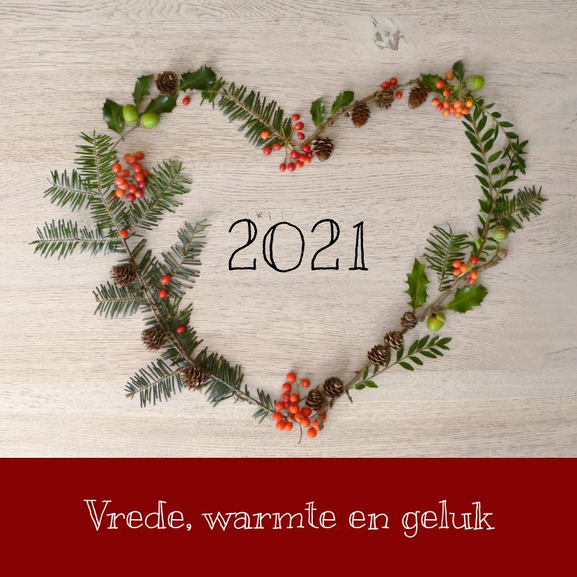 Kerstkaarten - Kerstkaart groen hart