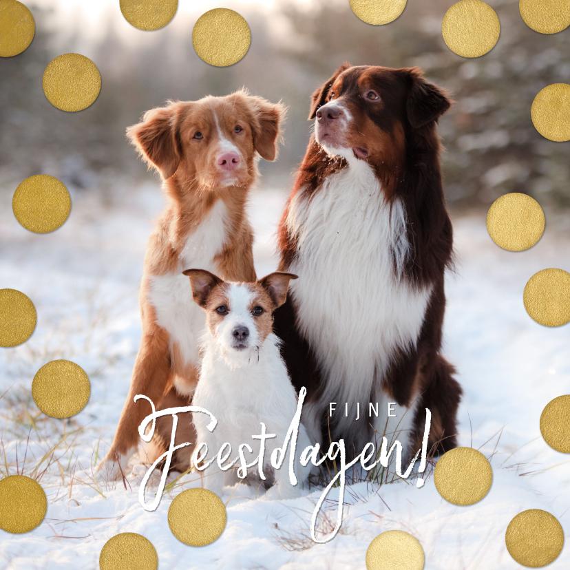 Kerstkaarten - Kerstkaart grote foto, gouden confetti en fijne feestdagen!