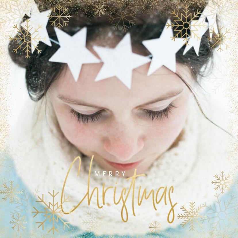 Kerstkaarten - Kerstkaart grote foto, gouden sneeuwvlokken en sneeuw