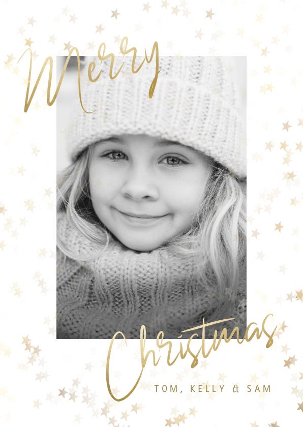 """Kerstkaarten - Kerstkaart grote foto, gouden sterren en """"Merry Christmas"""""""