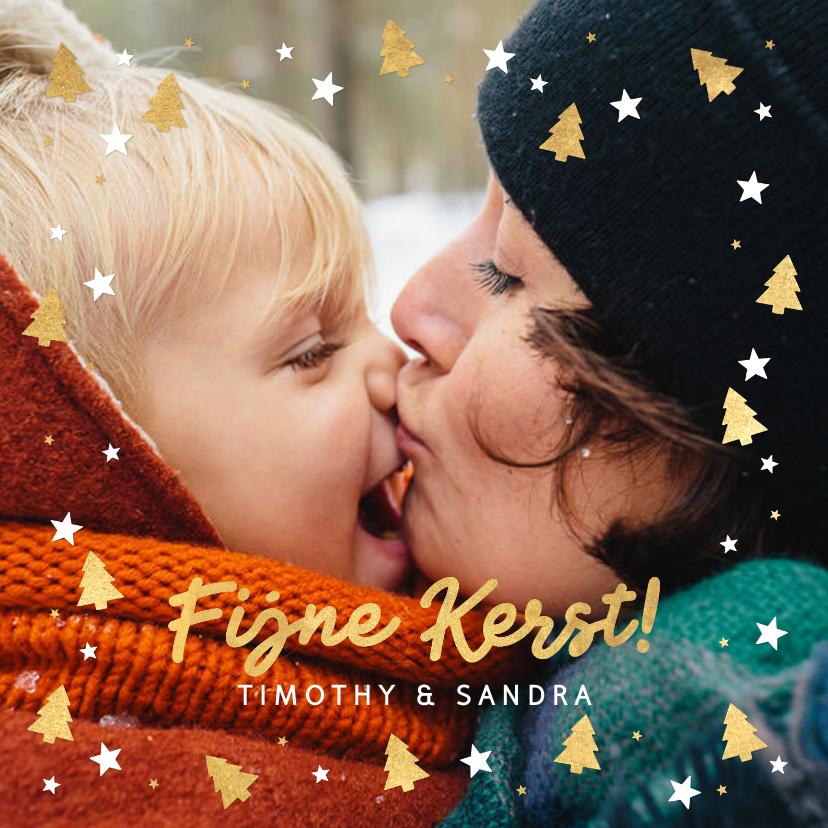 Kerstkaarten - Kerstkaart grote foto, kerstboom en sterren & 'Fijne Kerst!'