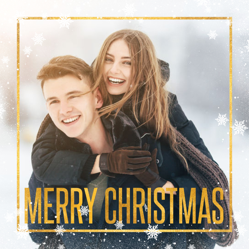 Kerstkaarten - Kerstkaart grote foto met gouden tekst en kader