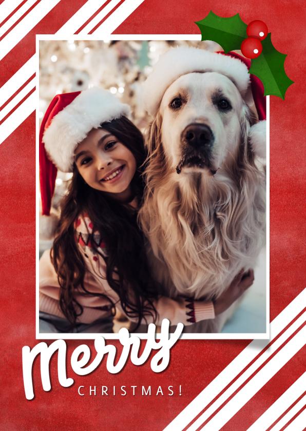 Kerstkaarten - Kerstkaart grote foto, rood, hulst en Merry Christmas!
