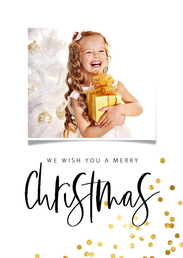 Kerstkaarten - Kerstkaart handgeschreven tekst  en gouden confetti