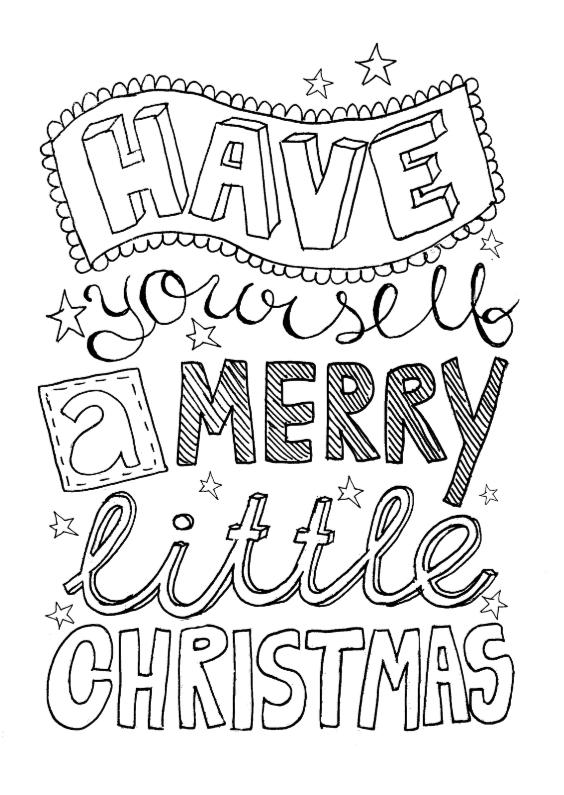Kerstkaarten - Kerstkaart handlettering zwartwit