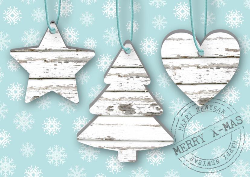 Kerstkaarten - Kerstkaart hangers steigerhoutlook