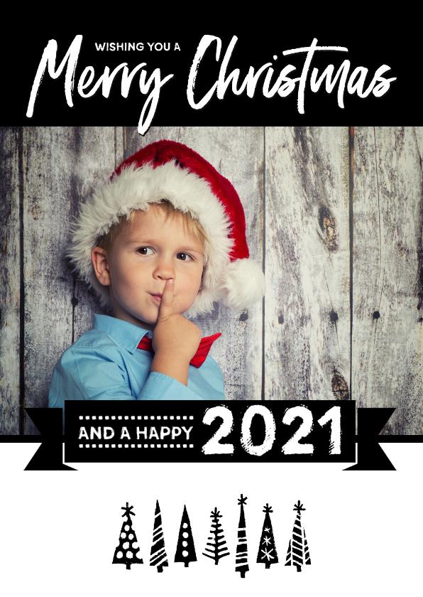 Kerstkaarten - Kerstkaart happy 2021 bomen