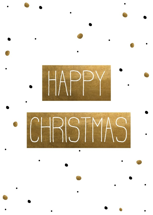 Kerstkaarten - Kerstkaart  Happy Christmas Confetti goud