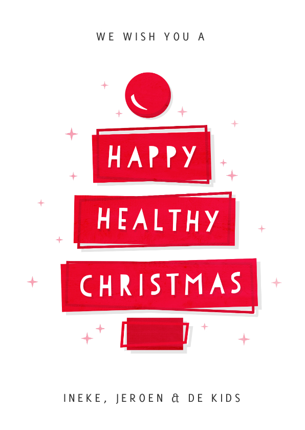 Kerstkaarten - Kerstkaart happy healthy Christmas - goede doel CliniClowns