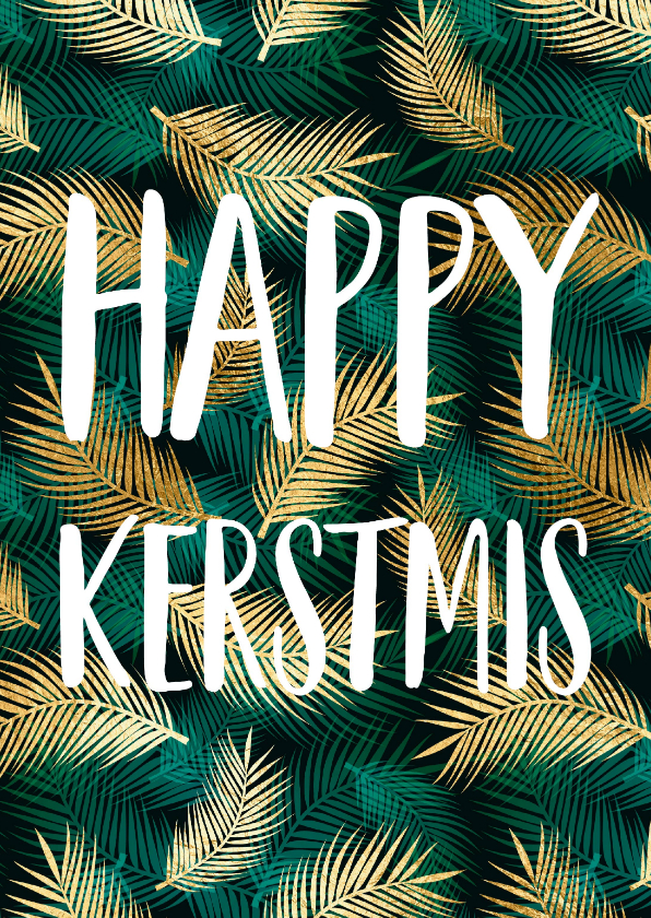 Kerstkaarten - Kerstkaart Happy kerstmis botanisch