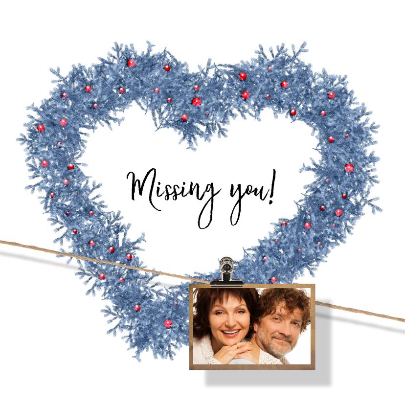 Kerstkaarten - Kerstkaart hart en label blauw