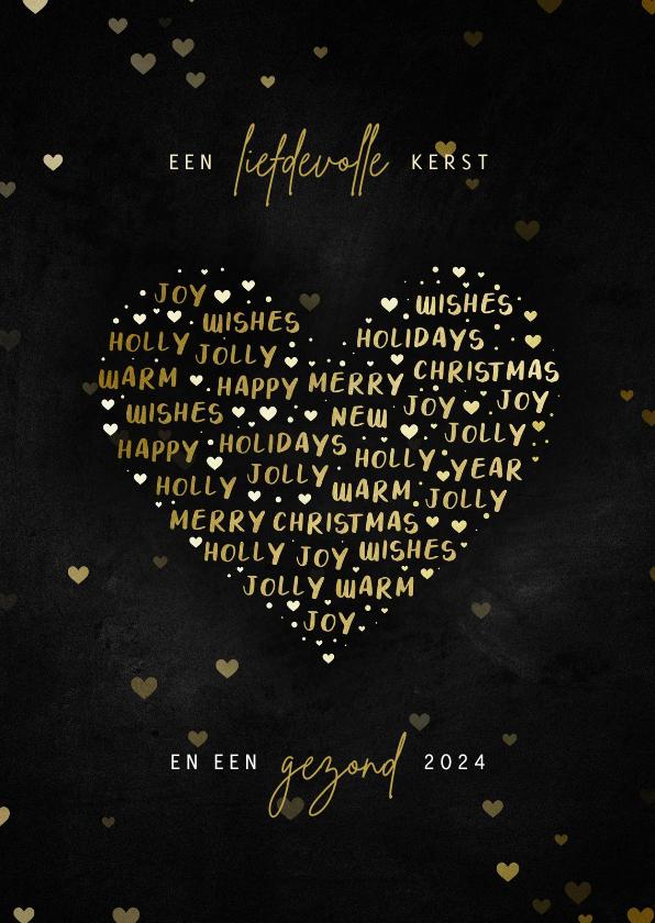 Kerstkaarten - Kerstkaart hart met woorden liefdevolle kerst