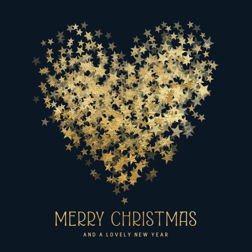 Kerstkaarten - Kerstkaart hart van sterren in goud