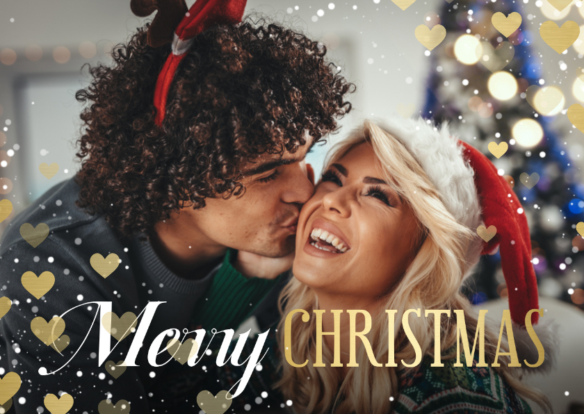 Kerstkaarten - Kerstkaart hartjeskader liggend grote foto Merry Christmas