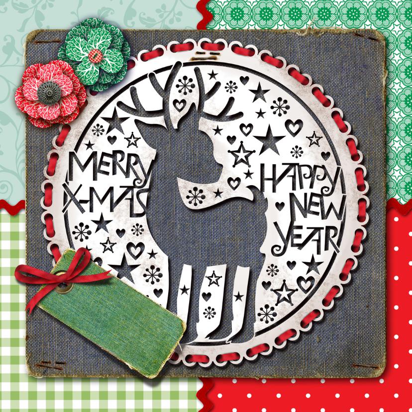 Kerstkaarten - Kerstkaart hert hip pip knipkunst
