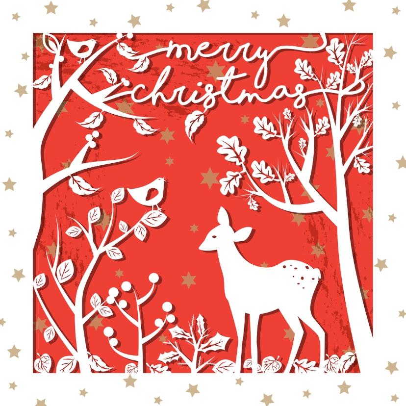 Kerstkaarten - Kerstkaart hert in het bos