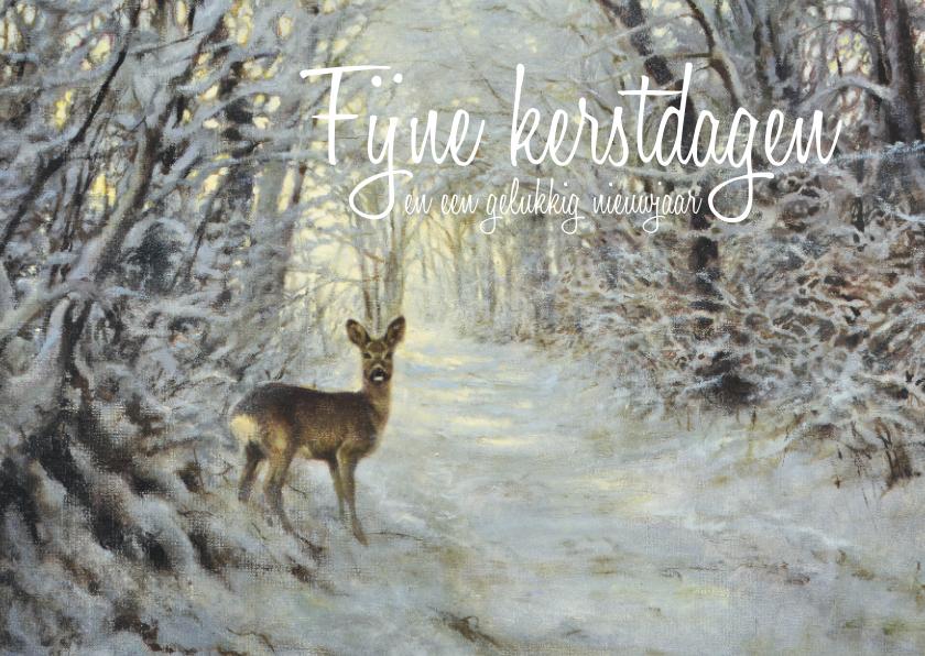 Kerstkaarten - Kerstkaart hert in het winterbos