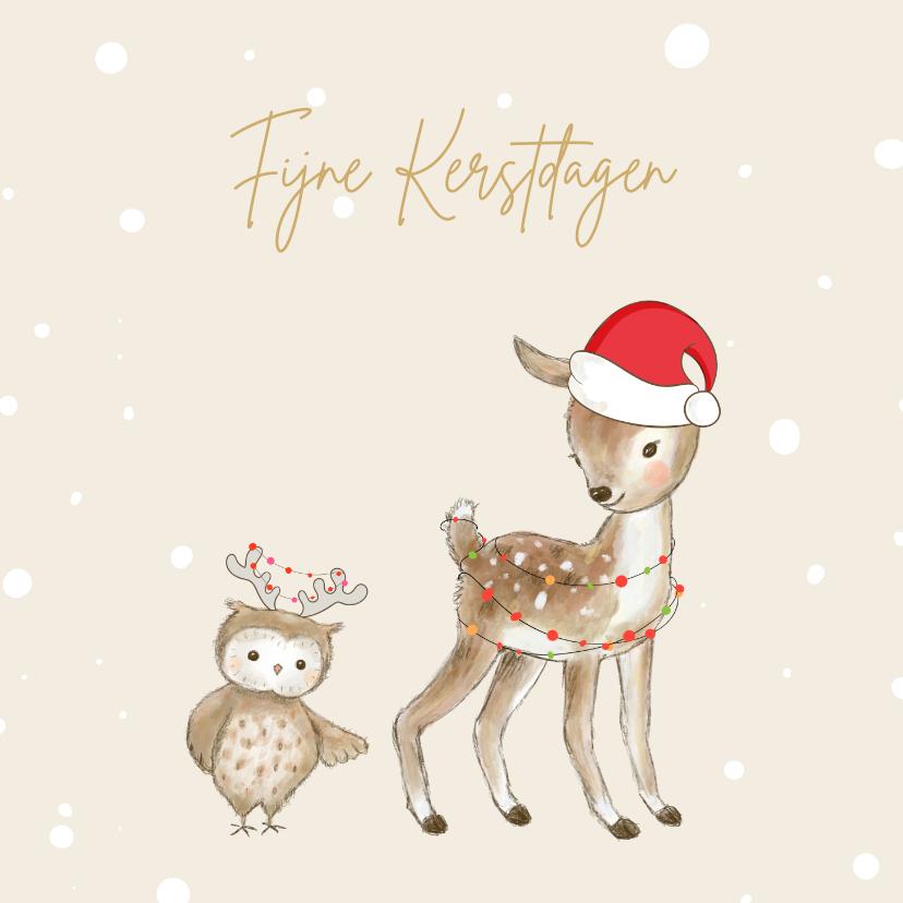 Kerstkaarten - Kerstkaart - Hertje en uil met kerstmuts en lampjes