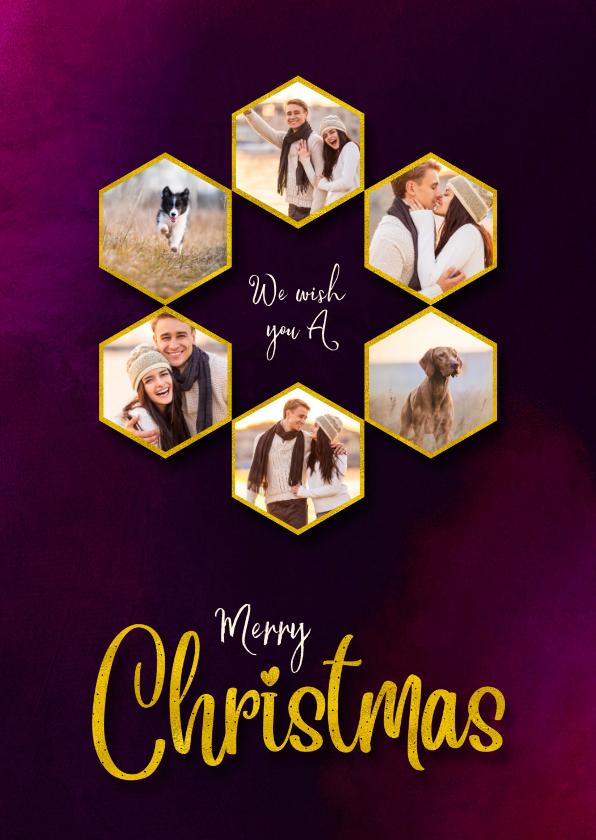 Kerstkaarten - Kerstkaart hexagon gouden fotocollage op warm cherry