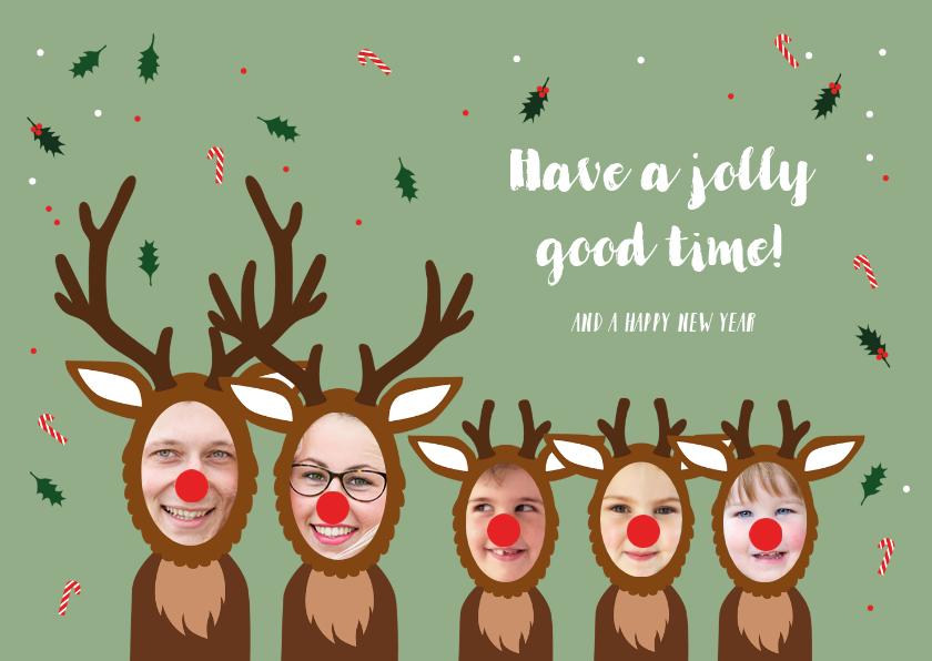 Kerstkaarten - Kerstkaart hilarisch grappige rendieren
