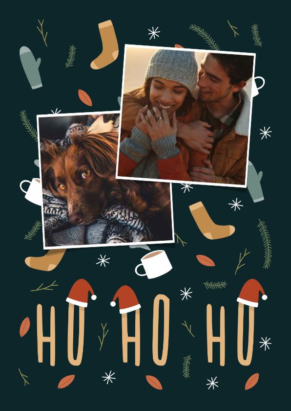 Kerstkaarten - Kerstkaart ho ho ho met foto en leuke illustraties