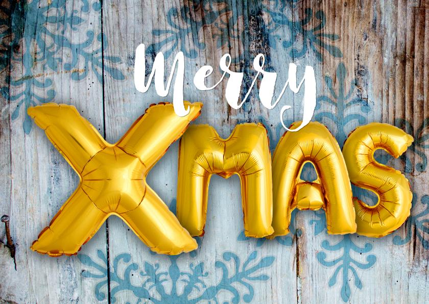 Kerstkaarten - Kerstkaart hout ballonnen xmas goud