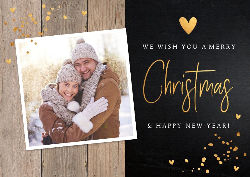 Kerstkaarten - Kerstkaart hout donker confetti goud foto