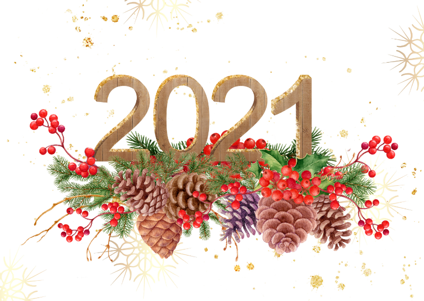 Kerstkaarten - Kerstkaart hulst en dennenappels met 2020 in hout