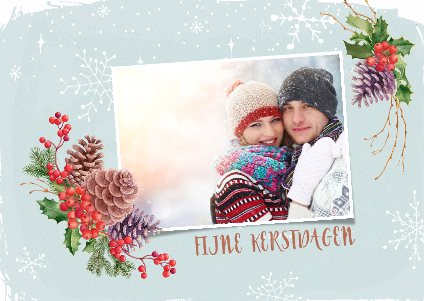 Kerstkaarten - Kerstkaart hulst en dennenappels met foto