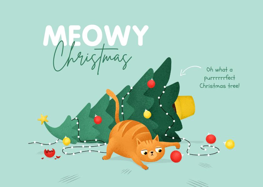 Kerstkaarten - Kerstkaart humor kat kerstboom kerstballen
