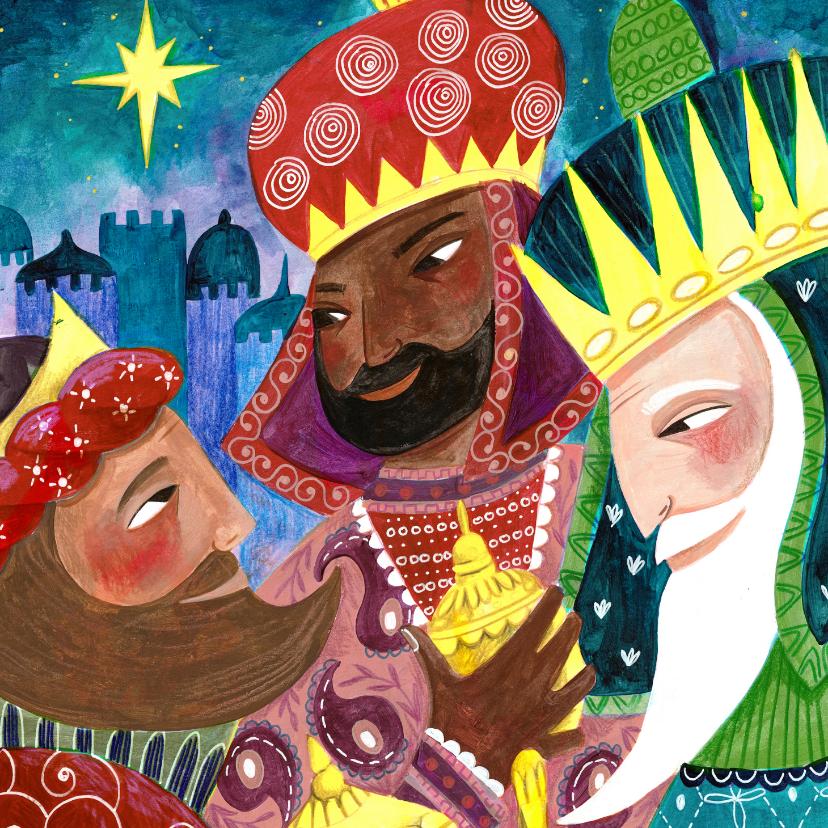 Kerstkaarten - Kerstkaart illustratie drie koningen wijzen relikwieen