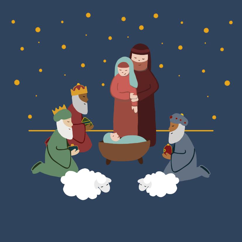 Kerstkaarten - Kerstkaart illustratie geboorte Jezus kerststal
