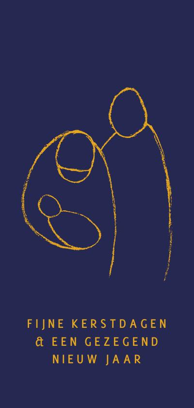 Kerstkaarten - Kerstkaart illustratie Jezus in kribbe Jozef en Maria