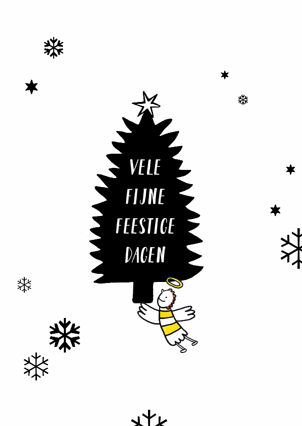Kerstkaarten - Kerstkaart illustratie kerst engeltje