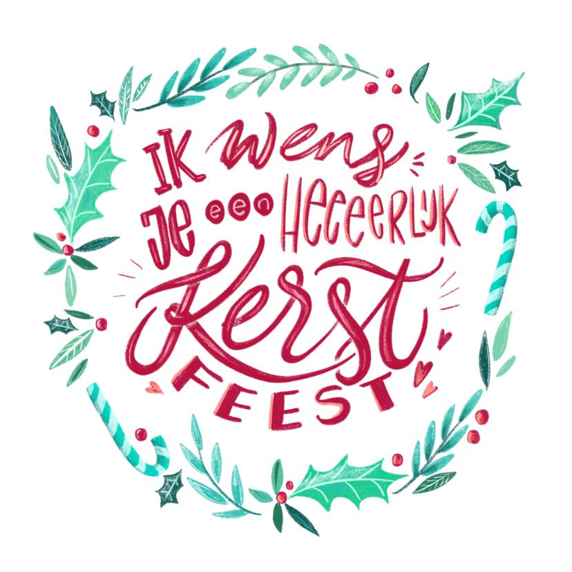 Kerstkaarten - Kerstkaart illustratie lettering 2019