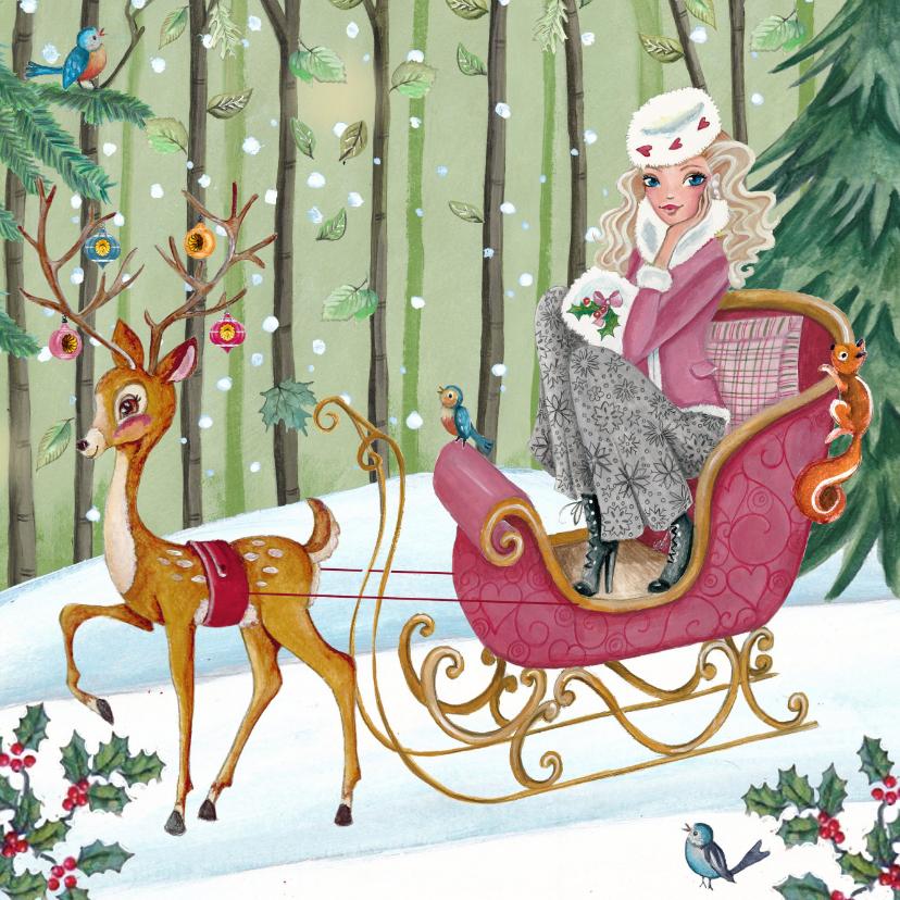Kerstkaarten - Kerstkaart Illustratie Slee Hert