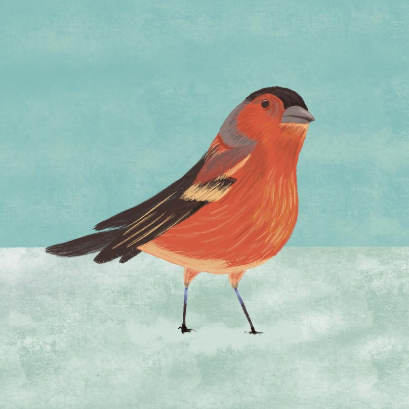 Kerstkaarten - Kerstkaart illustratie vogeltje in sneeuw