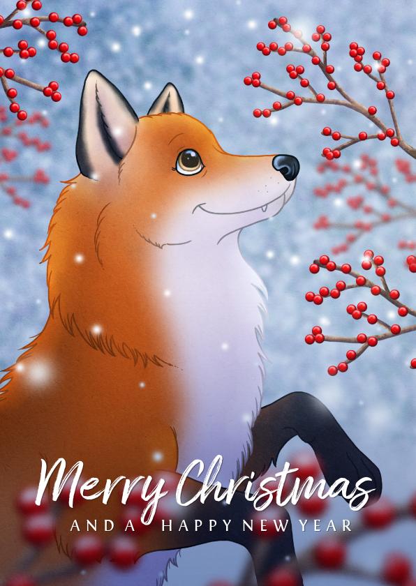 Kerstkaarten - Kerstkaart illustratie vosje met hulst besjes