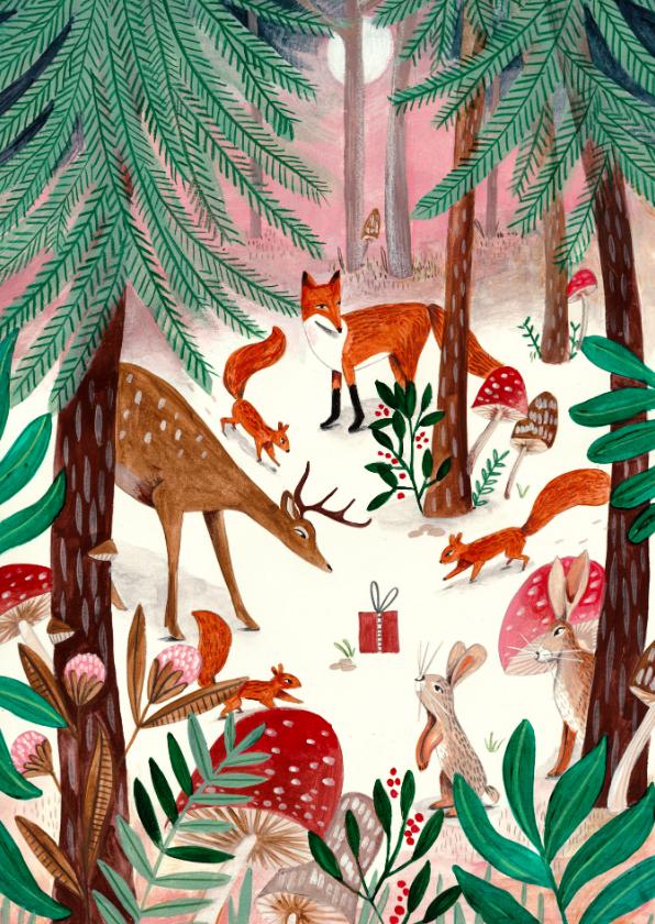Kerstkaarten - Kerstkaart illustratie woodland wonders bos dieren