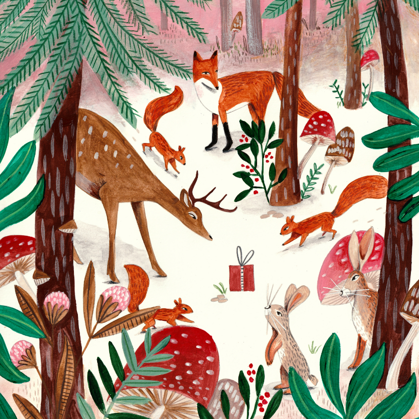 Kerstkaarten - Kerstkaart illustratie woodland wonders dieren in bos