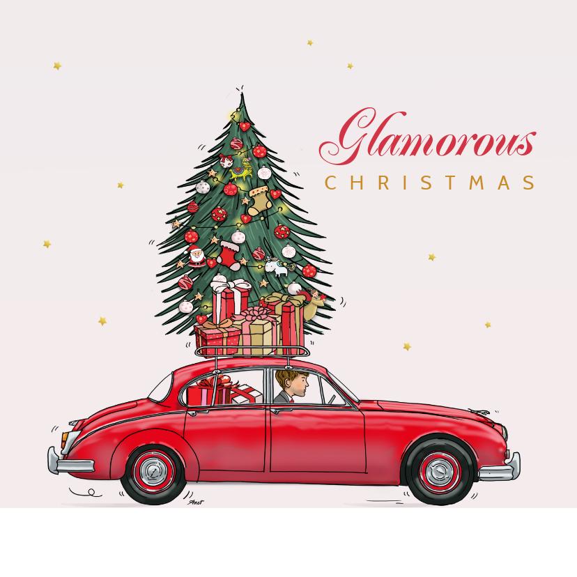 Kerstkaarten - Kerstkaart Jaguar mk2 rood