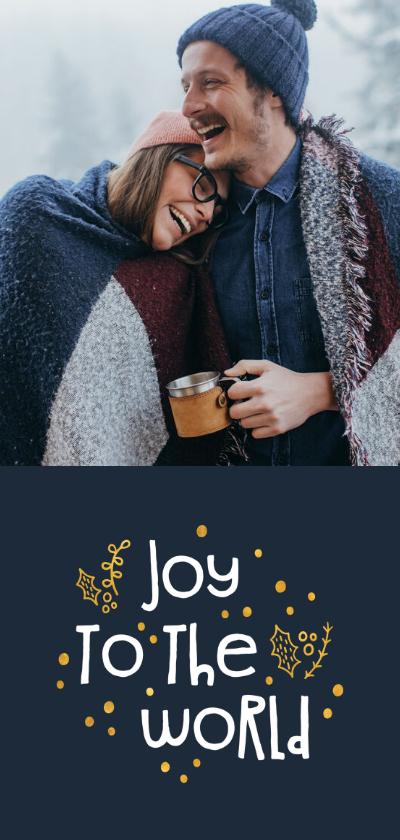 Kerstkaarten - Kerstkaart joy to the world goudlook met foto