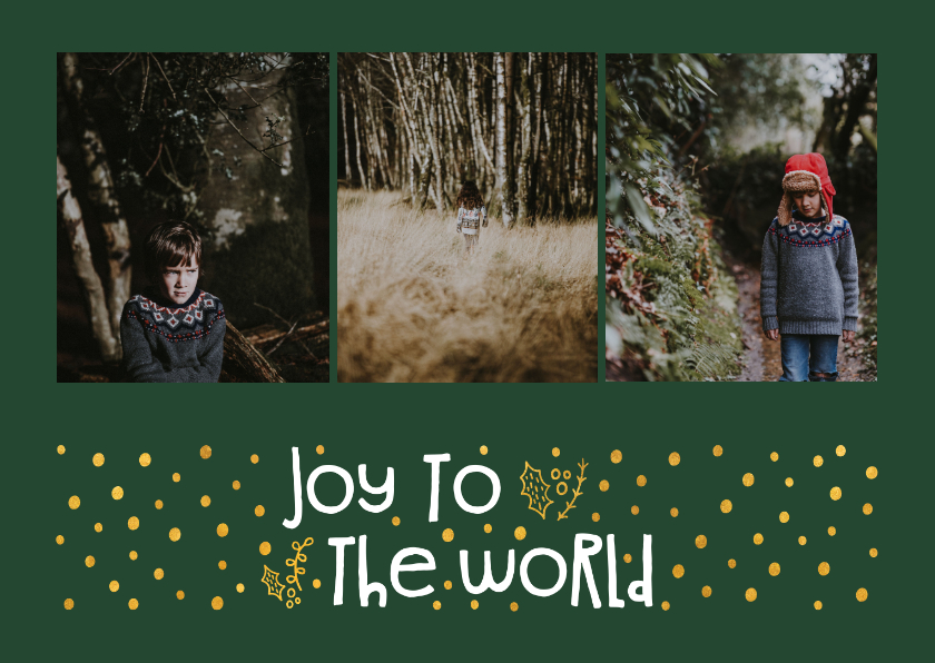 Kerstkaarten - Kerstkaart 'joy to the world' goudlook met foto's
