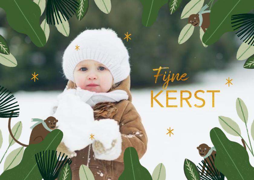 Kerstkaarten - Kerstkaart jungle bladeren met aapjes en grote foto