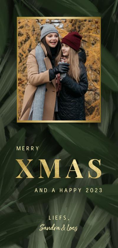 Kerstkaarten - Kerstkaart jungle bladeren met foto en gouden xmas